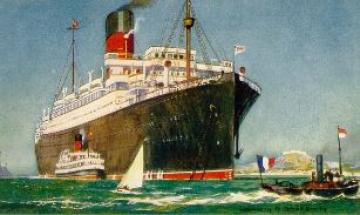 "A postcard view of the British ocean liner ""RMS Andania"" of the Cunard Line"