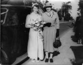 Peggy Jones on her wedding day in 1954 with her friend Mrs. Barnett